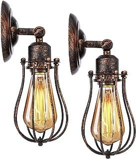 KINGSO 2 Pack Applique Murale Industrielle E27 Abat-jour Cage Lampe Suspension Plafonnier Vintage Luminaire Bougeoir Décor...
