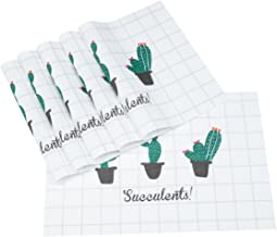Snugtown Placemats, Heat-Resistant Placemats Stain Resistant Anti-Skid Washable PVC Table Mats Woven Vinyl Placemats Green Plant Pattern 6 Pieces (Cactus)