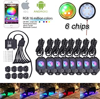 6 Led Chips Super Bright 8 Pods Multicolor Neon Light Kits RGB LED Rock Light Cell Phone Bluetooth Control Timing/Music Mode/Flashing/Automatic Control/Color Grad For Jeep Truck SUV ATV Motorcycle