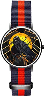 Customized Watercolor Floral Skull Wrist Watch, Blue Red Blue Nylon Watch Band Black Dial Plate Women 36mm Fashionable Wrist Watch for Women
