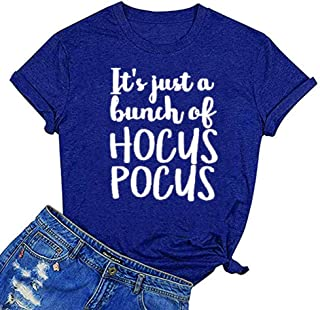 Women It's Just A Bunch of Hocus Pocus Letter Print Tops Casual Short Sleeve Tee Graphic Novelty T-Shirt