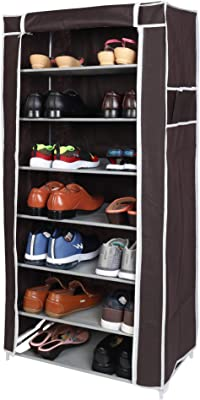 WowObjects 7 Layers Portable Multi-Utility DIY Foldable Storage Shoes Rack for Home (Brown)