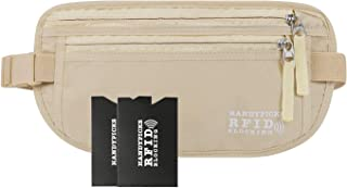 Money Belt for Men and Women - Waist Wallet RFID Blocking Passport Holder - 2 RFID Protection Card Sleeves Included