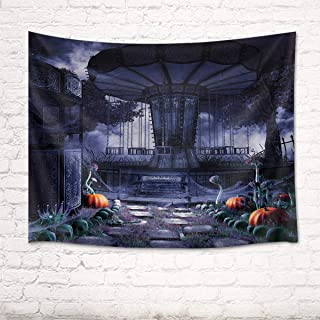 HVEST Halloween Tapestry Pumpkin Amusement Park Tapestry Merry-go-Round Background Tapestry Mysterious Night The Shades Wall Blanket for Room Party Decor 60Wx40H inches