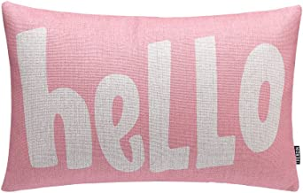 TRENDIN 20x12 Pink Hello Pure Words Vintage Cotton Linen Cushion Cover Throw Pillow Case Sofa Decorative (PL031TR)