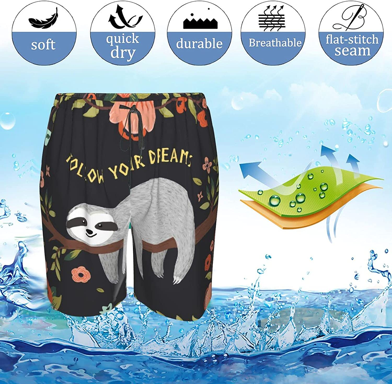 JINJUELS Mens Swim Trunks Dream Sloth Flower Swim Boardshorts Drawstring 3D Printed Athletic Swimwear Shorts with Lining