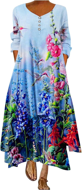 Smooto Women's Dresses Plus Size Loose Maxi Dress Oversize Bohemian Summer Dress