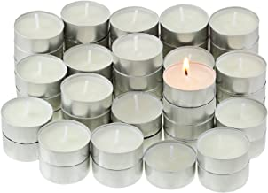Value Pack High Quality Unscented Non-Drip Tealight Candles In Metal Cups, Pack of 100 – White