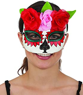 Jacobson Hat Company Ladies Day Of The Dead Sugar Skull Plaster Hand Painted Mask With Flowers