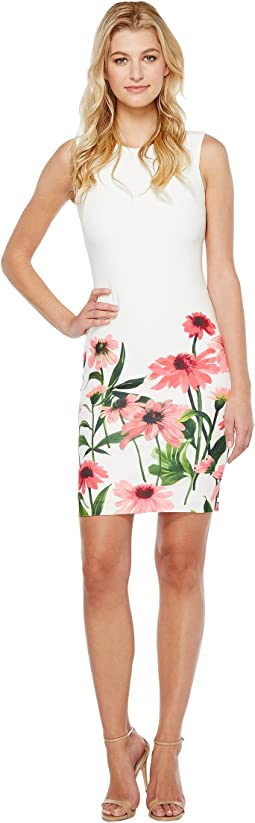 Sheath Dress with Floral Border Print
