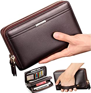 Mens Wallet Long Leather Cellphone Clutch Wallet Purse for Men Business Hand Cluth Bag Cell Phone Holster Card Holder Card Lots Case Large Travel Wallet Gift for Father Husband Boyfriend (Brown)
