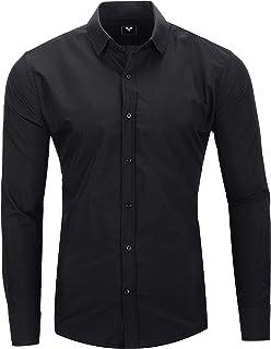 Kayhan Camisas Hombres Camisa Hombre Manga Larga Ropa Camisas de Vestir Slim fácil de Hierro Fit S-6XL - Modello Uni