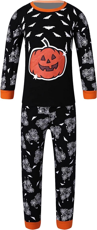 JEATHA Kids Boys Halloween Pajamas Long Sleeve Cute Cartoon Pumpkin Tops with Pants 2Pcs Lounge Set