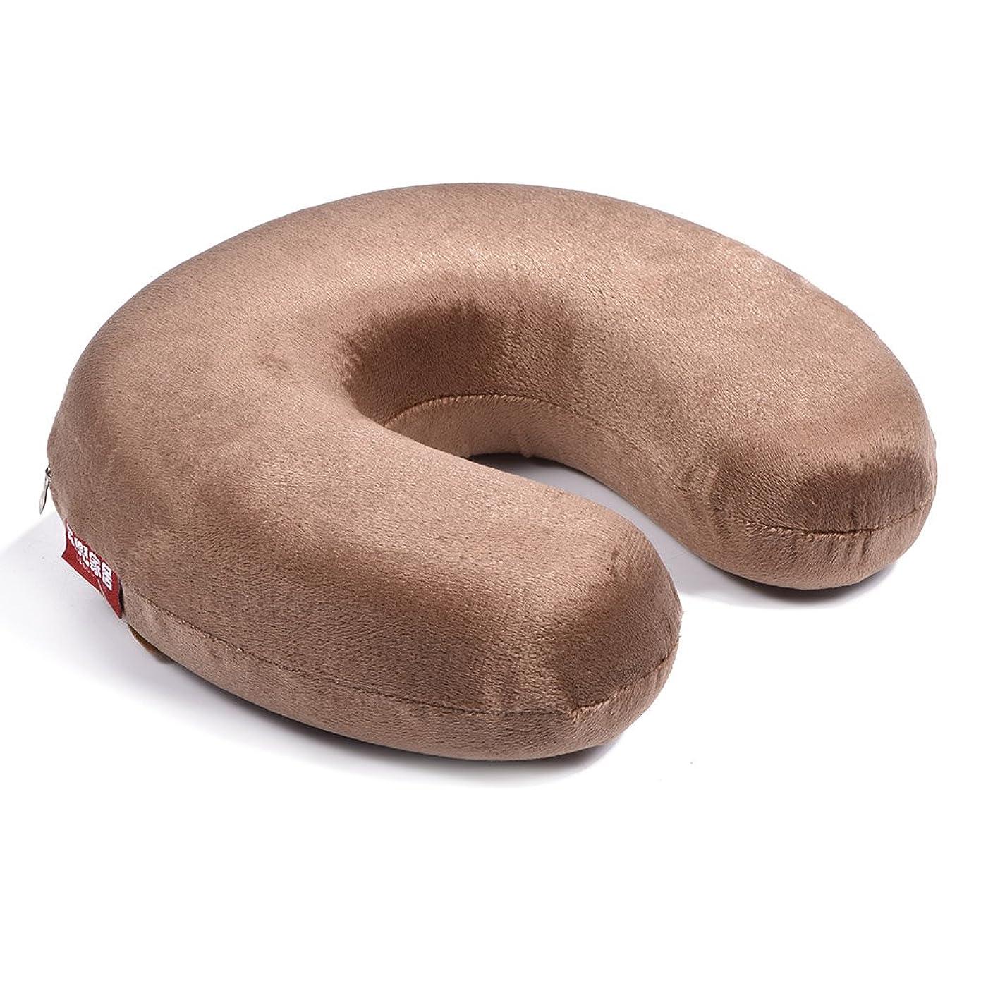 デマンド週末卒業携帯用U字型枕、記憶泡の枕首の首の頚部ヘッドレストのクッションの家旅行(Brown)