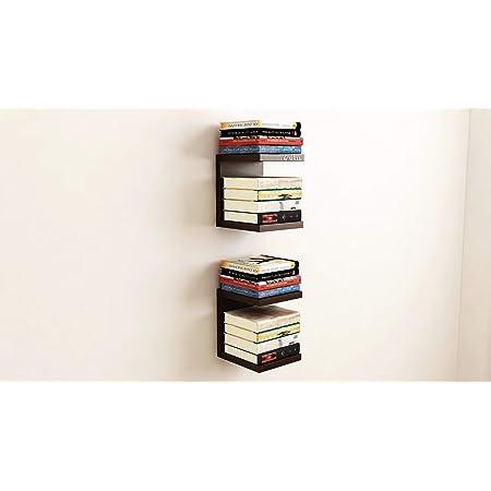 Anikaa Spark Engineered Wood Wall Decor Shelf/Book Shelf/Wall Mounted Shelf/Floating Wall Shelf/Wall Display Rack for Home Living Room Drawing Room Office (Wenge) (Set of 2)
