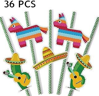 Mexican Fiesta Party Paper Straws 36 Pack Cinco de MAYO Drinking Striped Straws Festival Decor Favor Sombrero Donkey Cactus Decorative, 36PCS