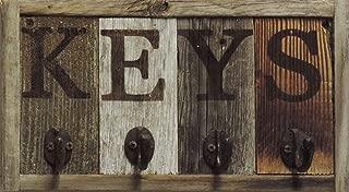 Rustic Wall Mounted Key Hook Rack, Wooden Key Chain Holder, Decorative Car Keychain Ring Hanger, Unique Home Storage Organizer for Wall. Farmhouse Entryway Decor. AllBarnWood Decor