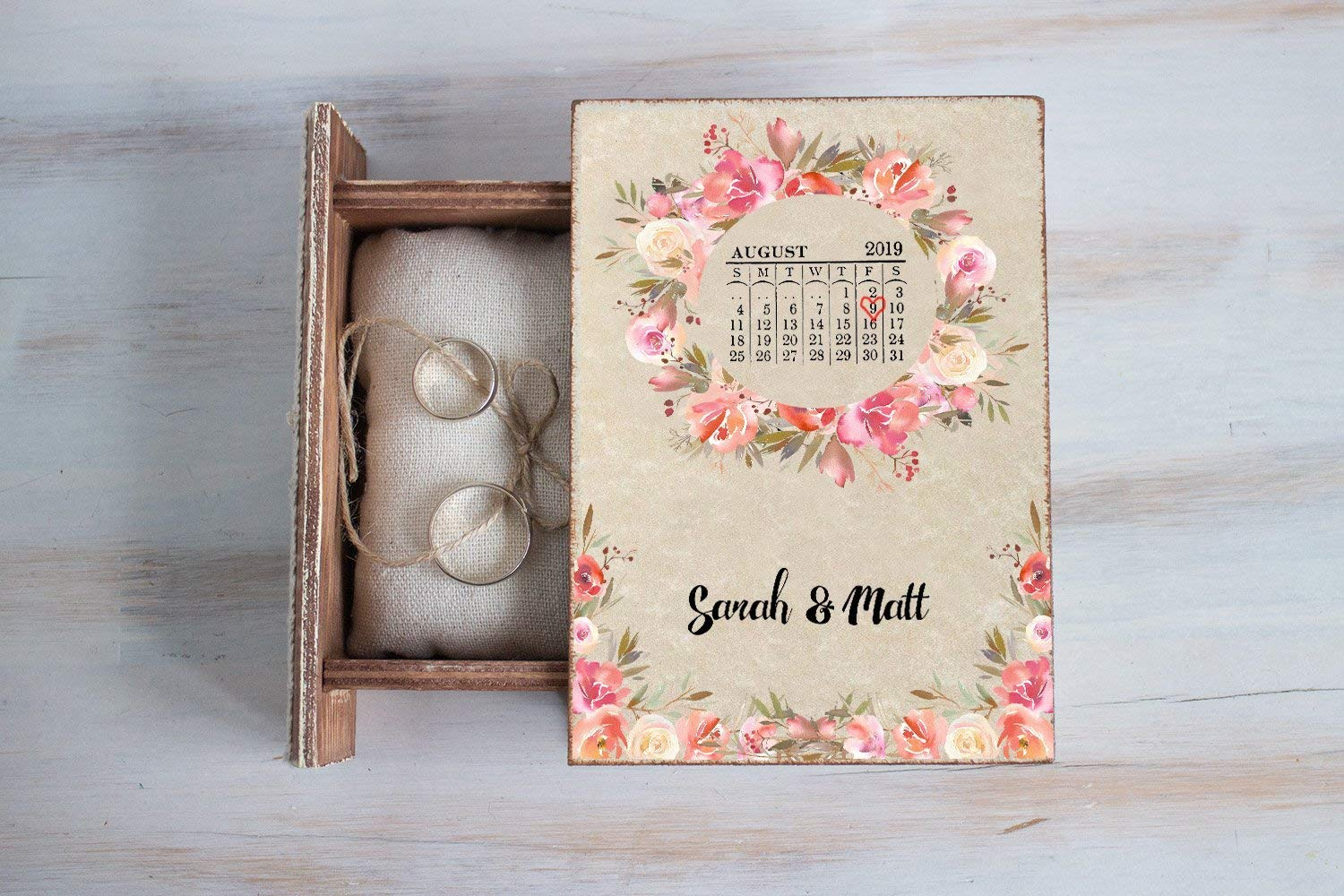 Personalized wedding Manufacturer regenerated Boston Mall product box Wedding ring Wreath R Floral