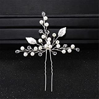 LUKEEXIN Wedding Headdress Bride's Handmade Hairpin Pearl Crystal Hairpin Pin Gold and Silver Leaf Headdress (Color : Silver)