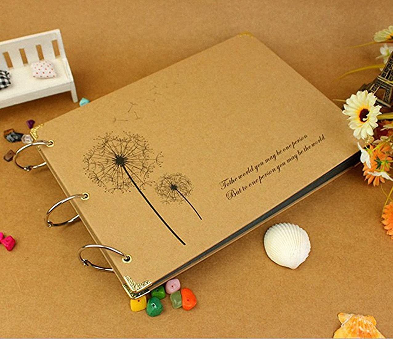 Kisoy Scrapbook Retro Classical and Nostalgic Style DIY Photo Albums Loose-leaf Notebooks For Ideal Gifts - Dandelion Love