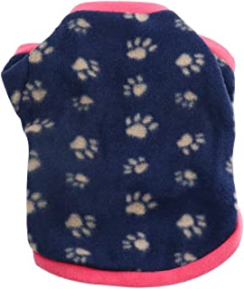 Idepet Warm Pet Dog Sweater with Paw Print Soft Fleece Puppy Clothes for Small Dog Boys Girls Teddy Chihuahua Yorkshire Poodle Pug Pomeranian Shih Tzu Beagle