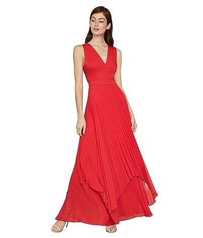 BCBGMAXAZRIA Pleated Cutout Gown (Rosso) Women