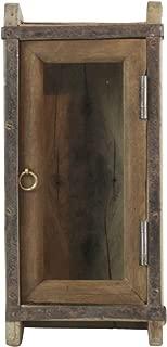MY SWANKY HOME Vintage Wood Brick Mold Shadow Box Cabinet| Wall Shelf Door Hanging Rustic