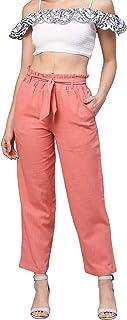 Idalia Women's Peach Solid Cotton Trousers