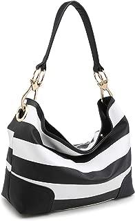 Women Hobo Purse Shoulder Bag Bucket Handbag with Big Hook Hardware Dual Snap Closure