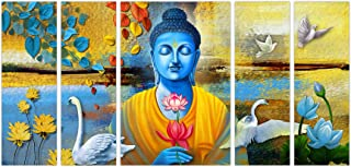 Art Amori Beautiful Lord Buddhaset of 5 MDF PaintingMulticolour 12x18 Inch - 1 Piece + 6x18 Inch-4 pieces for Wall Paintin...