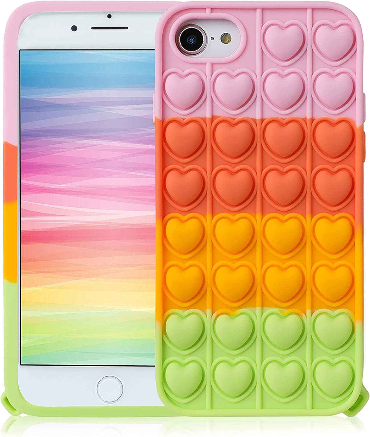 JoySolar Pink Heart for iPhone 6/6S/7/8/SE 2020 Case Silicone CaseDesign Cartoon Funny Cute Unique Fidget Aesthetic Cover Cases for Boys Girls Youth((for iPhone 6/6S/7/8/SE 2020 4.7