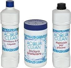 Milo srl Kit Tratamiento Aguas Piscina Agua Clean Cloro, alguicida, correttorte Ph–Mantenimiento