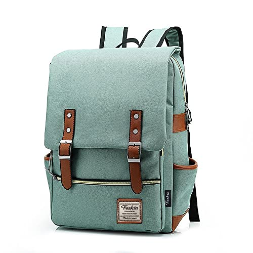 Unisex Professional Slim Business Laptop Backpack, Feskin Fashion Casual Durable Travel Rucksack Daypack (Waterproof Dustproof) with Tear Resistant Design for Macbook, Tablet - Light Green