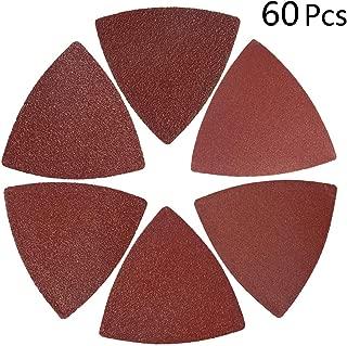 KingBra 60PCS Triangular Hook & Loop Multitool Sandpaper,Sandpaper Aluminum Oxide Random Orbital Sander Pads Fit 3-1/8 Inch Oscillating Multi Tool Sanding Pad(10 Each of 40 60 80 120 180 240)