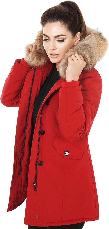Zarlena Damen Winterjacke mit Echtfell Wintermantel Mantel Jacke Winterparka Echt Fell Gef/üttert Parka Kapuze Pelz warm Pelzkragen