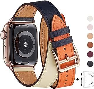 WFEAGL コンパチブル Apple Watch バンド, は本革を使い, iwatch series4/3/2/1 レザー製,Sport/Edition向けのバンド交換ストラップです コンパチブル アップルウォッチ バンド (38mm 40mm, 二重巻き型 ブルー/アイボリー/オレンジ+ローズゴールドバックル)