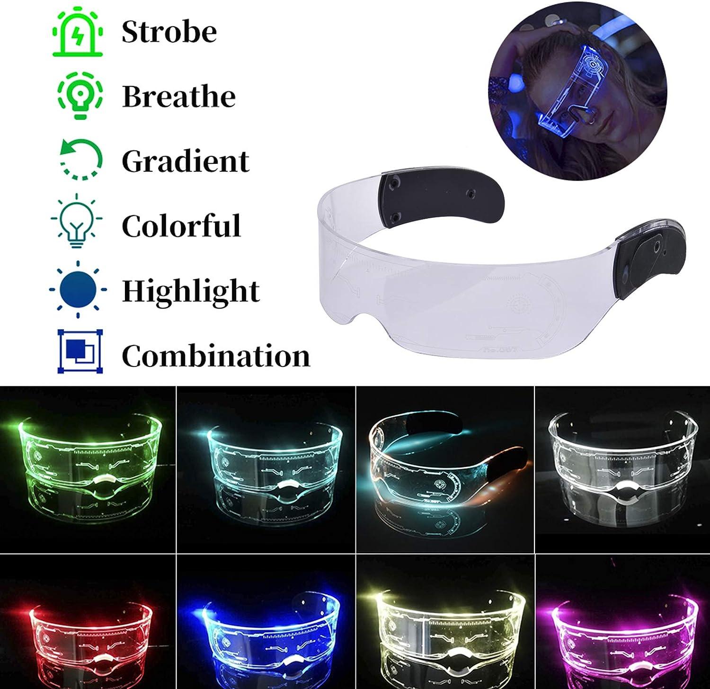 LED Colorful Luminous Glasses, LED Luminous Glasses Light Up Visor Eyeglasses for Halloween Christmas Parties Parties Adults Kids (Professional Model(Slow Change))