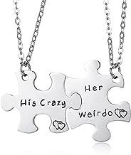CJ&M Stainless Steel His Crazy Her Weirdo Couples Keychains Set,Personalized Couples Jewelry, for Boyfriend Girlfriend