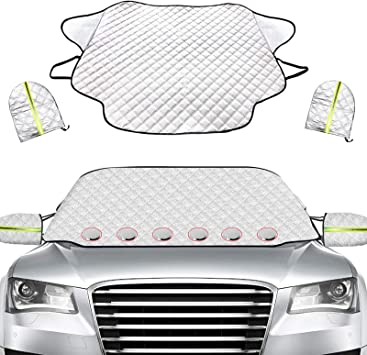 Golufomi Windshield Cover for Ice and Snow, Car Winter Frost Cover with Mirror Cover and Magnetic Edge, Protect in All Weather Fits Cars, SUV and Truck: image