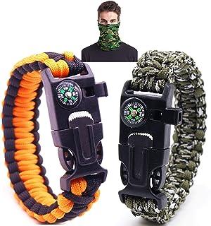 Voyant LED SOS Kit de Mat/ériel de Bracelet de Sport durgence /à 7 Noyaux Paracord Sifflet de Secours Compas Imperm/éable Outil Multifonctionnel Thermom/ètre Bracelet de Survie 21 en 1