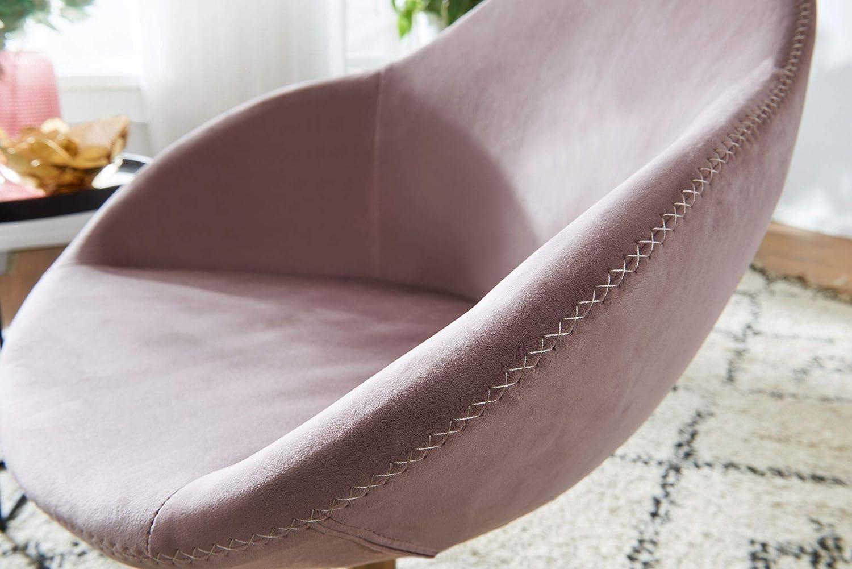 FineBuy Chaise Longue Tissu 70 x 79 x 70 cm Fauteuil Club Tournante Salon | Fauteuil pivotant avec accoudoirs | Fauteuil de Bar Rembourrée (Rose) Rose