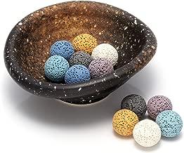 Jovivi Aromatherapy Diffuser Decoration Set - 14pcs Lava Stone Beads & Vintage Oval Ceramic Incense Essential Oil Burner/Warmer/Holder/Bowl(Lava Ball Beads)