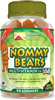 Nommy Bears MULTIVITAMIN Gelatin-Free Gummies: for Kids, Children, Teens, Adults, 5 Delicious Flavors, 11 Essentials, Glut...
