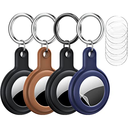 BELONGME Compatible with AirTags Case, 4 Pack AirTag Keychain, with 6 Pcs Screen Protector, Shock-Absorbing Soft Silicone Anti-Scratch AirTag Holder for Apple AirTag(2021)