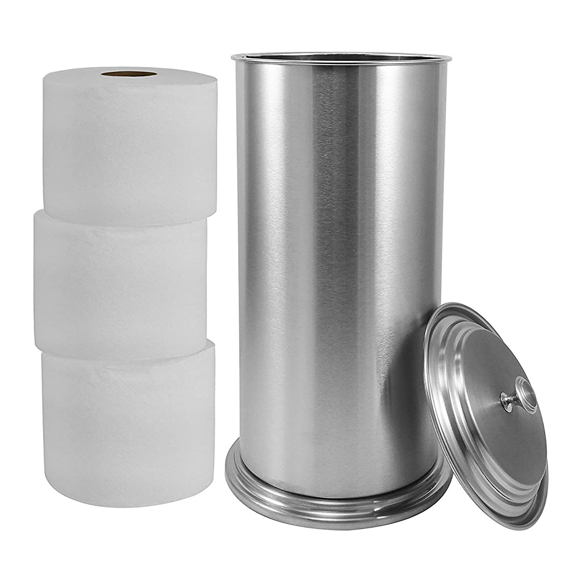 LDR 164 6466BN Freestanding Extra Toilet Paper Canister for Single Double and Extra Large Rolls Brushed Nickel Finish