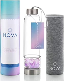 Crystal Elixir Infused Gem Water Bottle – Shatter-Resistant – Wellness Glass and Stainless Steel Includes Protective Sleeve and Removable Crystal – 15 oz (Amethyst Crystal)