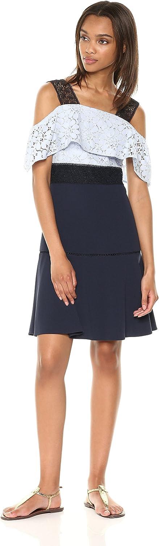 Nanette Nanette Lepore Womens Slvls Strch Crepe DRS W Lace Bodice &Crochet Trim Dress