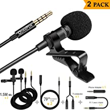 Dependable Lavalier Lapel Microphone, Dual Professional Lavalier Mic Phone Microphone with 2 Extension Cord + 1 Y Connector Perfect for Dual Interview, YouTube, Video Recording, Broadcasting - 2PACK