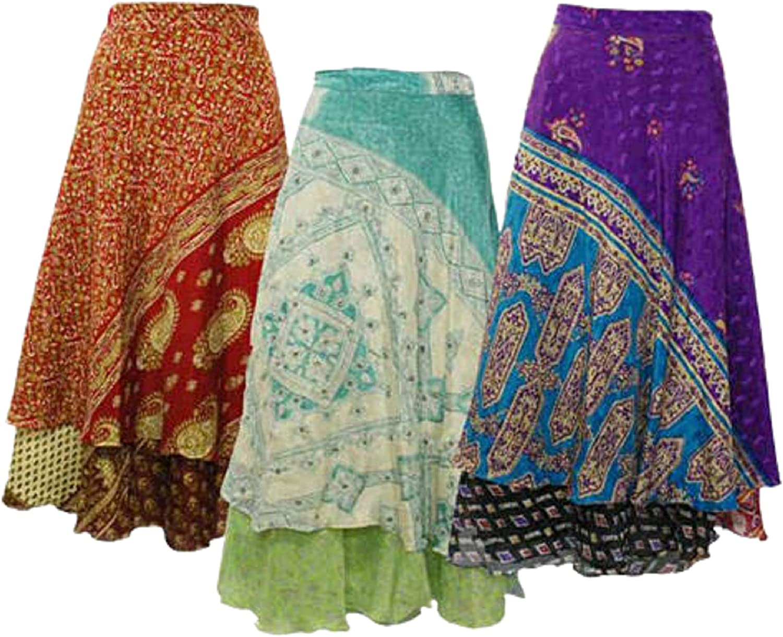 Nivisaa Silk Sari Skirt Wrap Skirts Reversible Sari Skirt Maxi Magic Wrap Skirt Long Comfortable Skirt Womens's Lot of 3 Pc