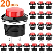DIYhz Momentary Push Button Switch Mini No Lock Round Switch AC 250V / 3A AC 125V /6A OFF-ON Red Cap(20pcs)